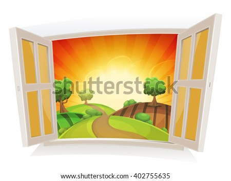 Open Window On A Summer Rural Landscape/ Illustration of an open window on a summer landscape, with sunrise and rural road snaking in pastures and meadows, and harvesting fields - stock vector