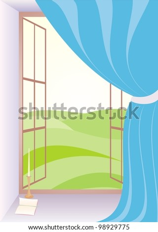 open window with curtain in the room, open book and candle on the windowsill - stock vector