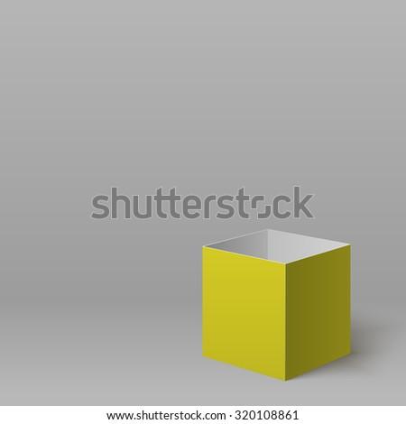Open yellow box for your design. Vector template - stock vector