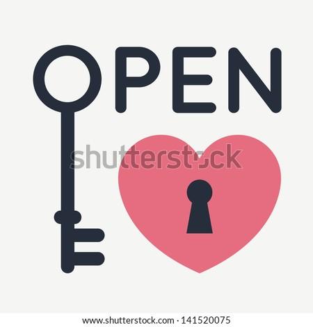 Open your heart - stock vector