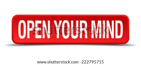 open your mind red 3d square button isolated on white - stock vector