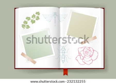 Opened album with blank photo frames for Summer memories. Pages ornate with leaves, rose line art and abstract insects. Scrapbook or diary template. Copy space. Vector is EPS10. - stock vector