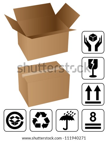 Opened and closed cardboard box with black fragile symbol - stock vector