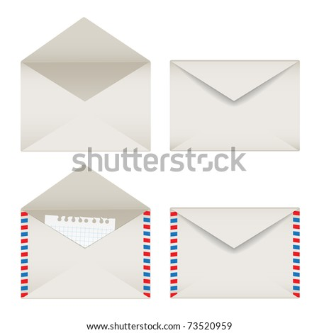 Opened and closed envelopes set - stock vector