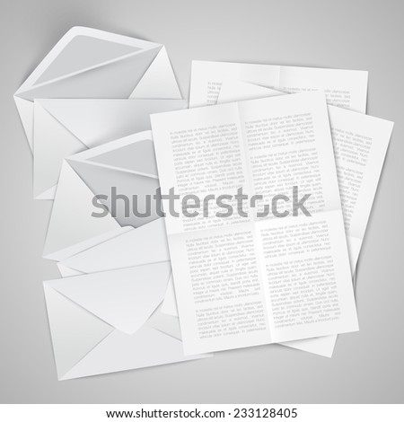 Opened and closed envelopes with letters, vector - stock vector
