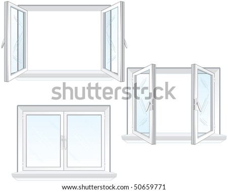 Opened and closed window frame-vector illustration (separated elements)