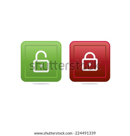 Opened and Locked Locks Icons - stock vector