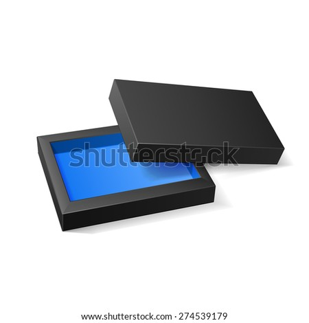 Opened Black Blue Cardboard Package Box. Gift Candy. On White Background Isolated. Ready For Your Design. Product Packing Vector EPS10  - stock vector