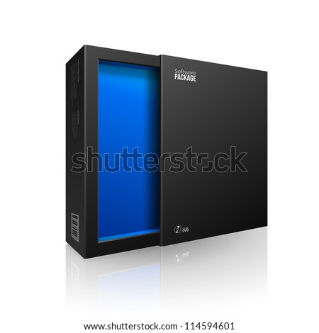 Opened Black Modern Software Package Box Blue Inside For DVD, CD Disk Or Other Your Product EPS10 - stock vector