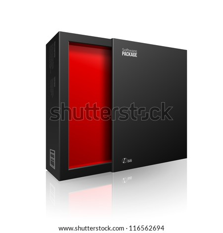 Opened Black Modern Software Package Box Red Inside For DVD, CD Disk Or Other Your Product EPS10