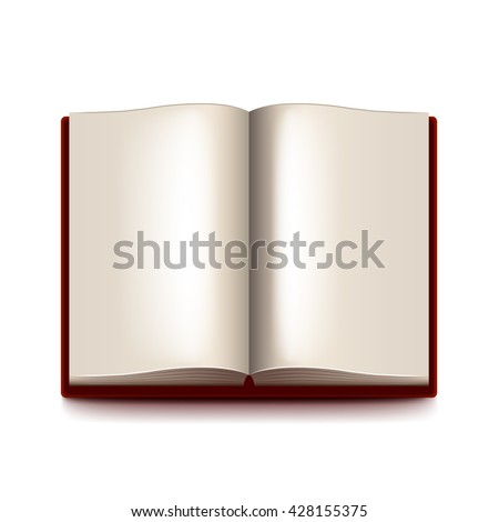 Opened book isolated on white photo-realistic vector illustration