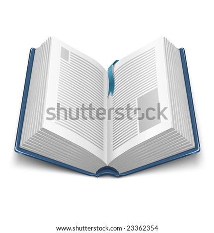 opened book with blue cover and mark - vector illustration