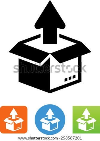 Opened box with arrow symbol for download. Vector icons for video, mobile apps, Web sites and print projects.  - stock vector