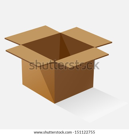 Opened brown paper box with shadow, stock vector - stock vector