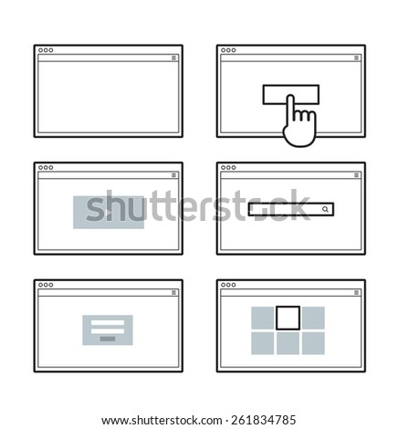 Opened browser window template. Past your content into it. web site page templates - stock vector