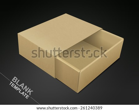 opened cardboard box isolated on black background - stock vector