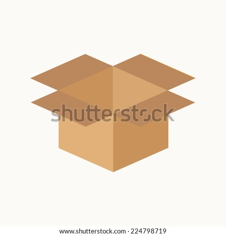 Opened cardboard package box. Flat design style. Vector illustration - stock vector
