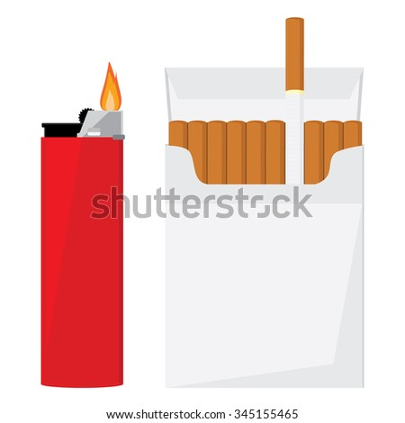 Opened cigarette pack with cigarettes and red pocket lighter with fire vector illustration. Cigarette box. Cigarette packet. - stock vector
