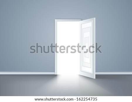 Opened door in the blue wall. Vector illustration - stock vector