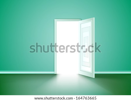 Opened door in the cyan wall. Vector - stock vector