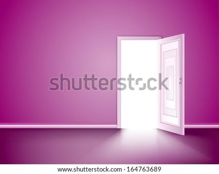 Opened door in the pink wall. Vector - stock vector