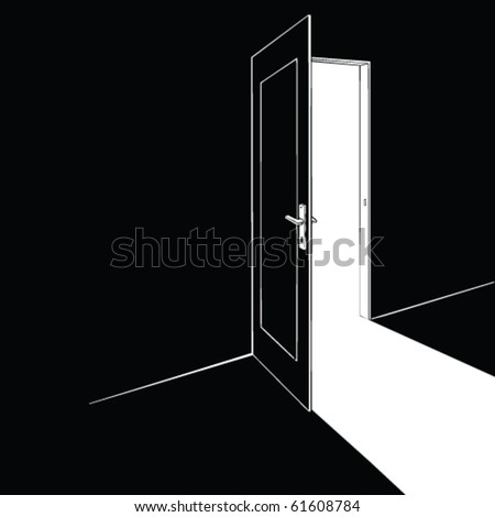 opened door vector - stock vector