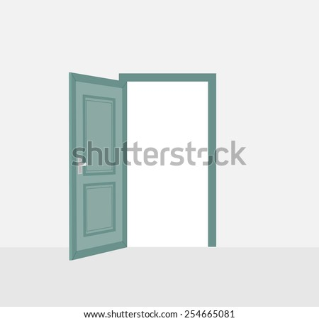 Opened door, vector illustration - stock vector