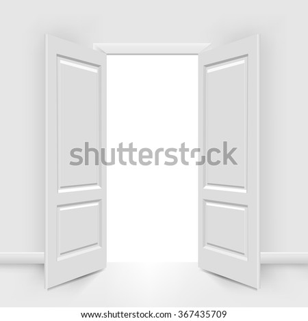 Opened Doors With Gradient Mesh, Vector Illustration - stock vector