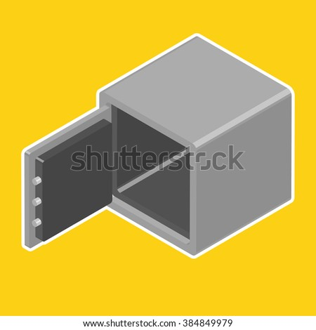 Opened empty safe. Isometric vector illustration - stock vector