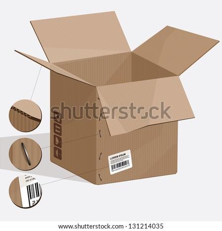 Opened emty carvboard box. Vector - stock vector