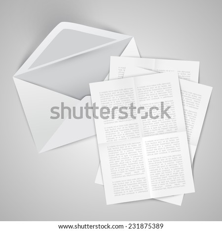 Opened envelope with letters, vector - stock vector