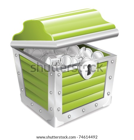 Opened Green Treasure Chest Isolated on white - stock vector
