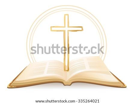 Opened Holy Bible with cross above it. Vector illustration - stock vector