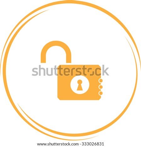 opened lock. Internet button. Vector icon.
