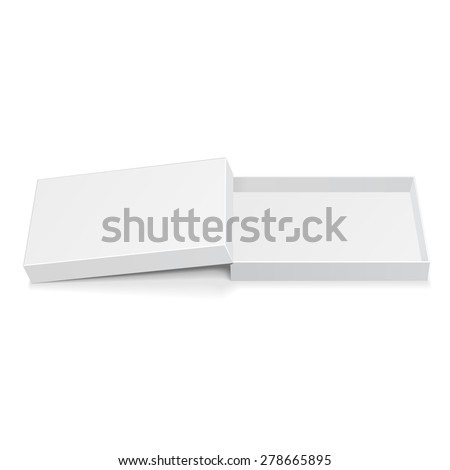 Opened Long White Cardboard Package Box. Gift Candy. Illustration Isolated On White Background. Mock Up Template Ready For Your Design. Vector EPS10 - stock vector