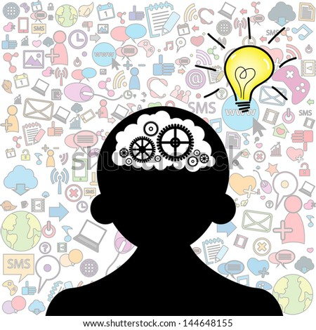 opened male head generating ideas Social network background - stock vector