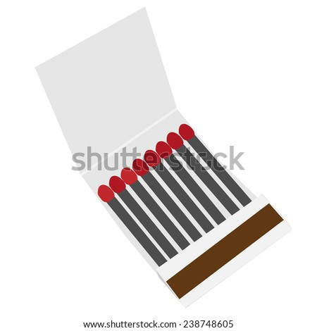 Opened matchbox isolated on white vector, danger, matchstick, match book - stock vector