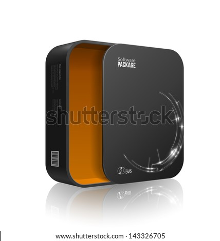 Opened Modern Black Software Package Box With Rounded Corners Orange Yellow Inside. With DVD Or CD Disk For Your Product. Vector EPS10 - stock vector