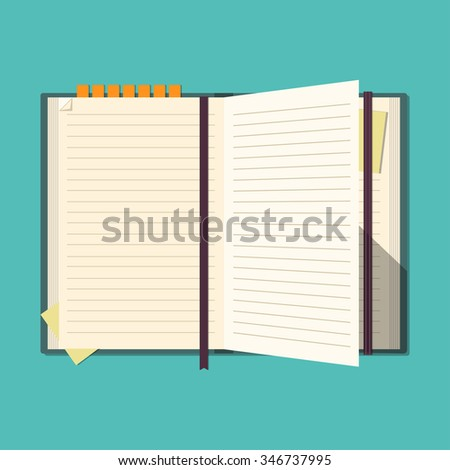 Opened notebook. Notepad for business and important notes. Diary. Personal organizer. Flat design. Blank pages. Vector illustration.  - stock vector