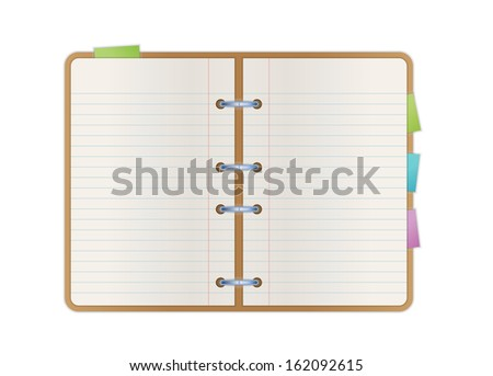 opened notebook with blank paper pages and color bookmarks - stock vector