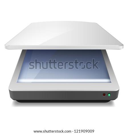 Opened Office Scanner. Illustration on white background - stock vector