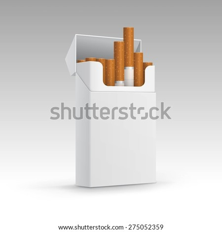 Opened Pack of Cigarettes Isolated on a White Background - stock vector