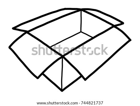 opened paper box cartoon vector illustration stock vector 744821737 rh shutterstock com window box clipart black and white box tops clip art black and white