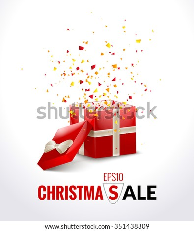 Opened Red Gift Box with ribbon and flying Confetti. Christmas SALE Background. Vector Illustration. - stock vector