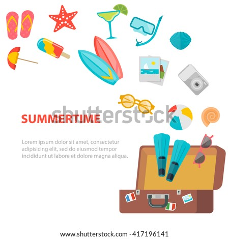 Opened suitcase with flying summer icons set. Travel concept. Travel illustration. Travel icons. Travel concept. Travel flat. Travel fun. Travel art. Summer travel. Travel vector. Travel web. - stock vector