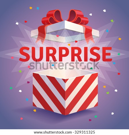 Opened surprise gift box. Red striped and bow tied confetti explosion. Flat style vector illustration isolated on violet background. - stock vector