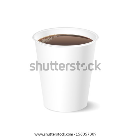 Opened take-out coffee cup, isolated on a white - stock vector
