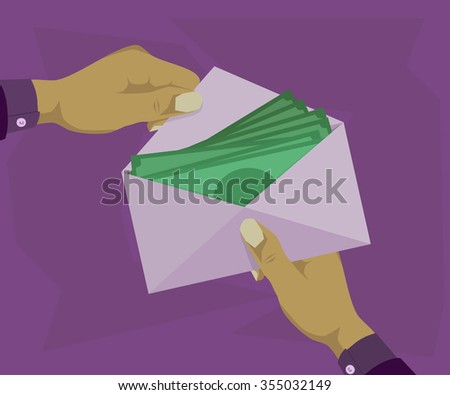 Opened the envelope in which there money  - stock vector