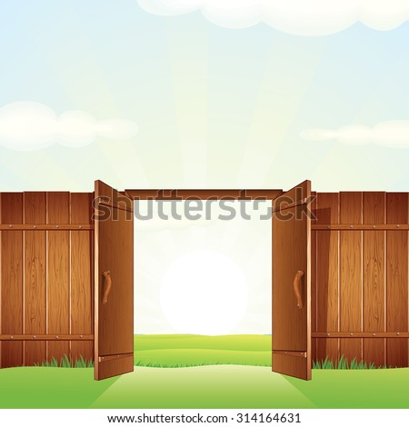 Opened Timber Gate. Vector Image for your Design. - stock vector