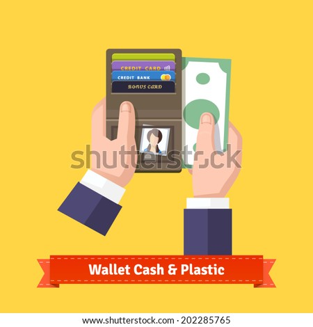 Opened wallet in human hands flat icon. With plastic cards, dear photo and cash. Businessman paying a bill concept. EPS 10 vector. - stock vector